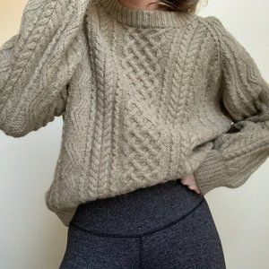 Vintage Sweaters - Vintage Chunky Cable Knit Pullover Sweater